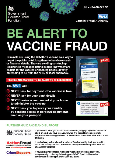 Be alert to Covid-19 Vaccine Fraud