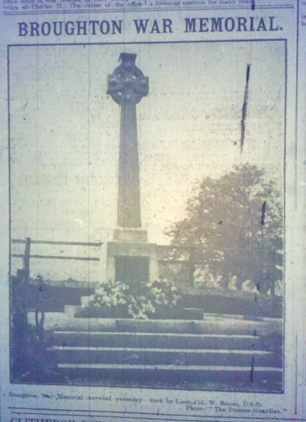 Preston Gazette reports the unveiling of Broughton's new war memorial