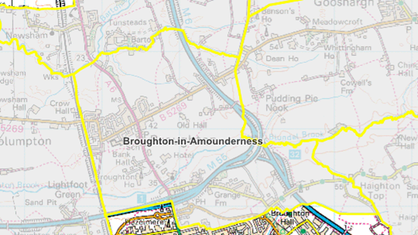 Map of Broughton and surrounding areas