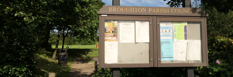 Broughton Parish Council's Notices Board at King George V Field